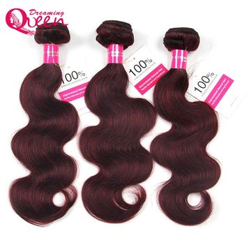 #99J Burgundy Color Brazilian Body Wave 100% Human Hair Ombre Hair Extension  Weave Bundles Dreaming Queen No Remy Hair