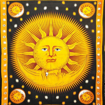 Hippie Hippy Celestial Sun Moon Tie Dye Tapestry ,Stars Tapestry, Indian Tapestry, Wall Hanging Tapestry, Queen Dorm Bedding, Sun-Moon