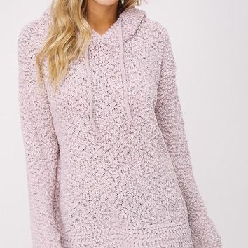 Popcorn Sweater Hoodie - Light Mauve