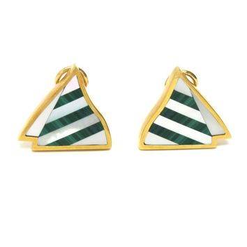 Tiffany & Co. Angela Cummings Gold Malachite MOP Sailboat Earrings