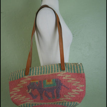 Vintage Pastel Sisal Bag// Rare Elephant Print// by StoriesForBoys