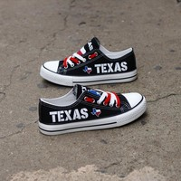 Texas Black Flag Pride Shoes Low Top Canvas Custom Printed Sneakers