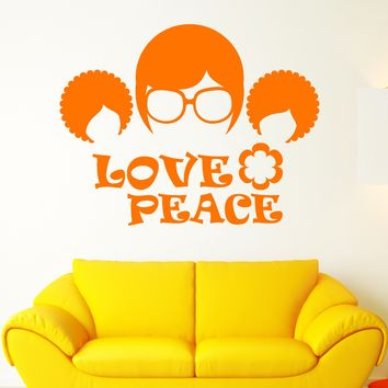 Vinyl Wall Decal Retro Sunglasses Hippie Love Words Afro Hairstyle Stickers Unique Gift (2105ig)