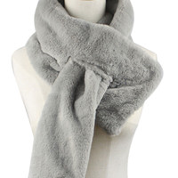 Gray Faux Fur Scarf