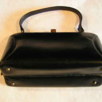 Vintage Classic Black Leather Handbag Pocketbook by Elite