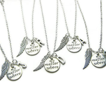 5 Best Friends Necklaces, No Matter Where Necklaces, Angel Wing Necklaces, BFF Necklaces, Sisters Necklaces, Friends Necklaces, Personalized