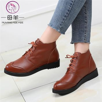 MUYANG Women Boots Fashion Autumn winter Ankle Boots Genuine Leather Platform Flat Woman Shoes Plus Size 34- 44 Boots For Women