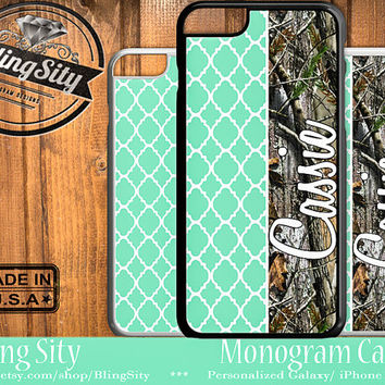 Mint Camo Monogram iPhone 5C 6 Tough Case 6S Plus iPhone 5s 4 Ipod 5 Touch case Quatrefoil Real Tree Camo Zig Zag Personalized Country Girl