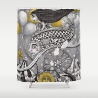 Roller Coaster Ride Shower Curtain by Judith Clay