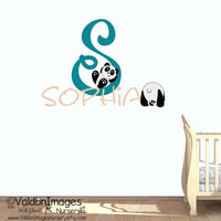 Panda bears with name wall decal, nursery decals, kids room wall decal, nursery decor, personalized wall decal, baby decor, childrens decor
