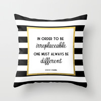 Coco Gold Fashion Quote Throw Pillow by Poppy Loves To Groove
