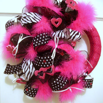 Deco mesh wreath hot pink, black zebra stripe, door decor, black initial letter added optional- wall decor, door hanger