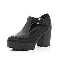 River Island Womens Black chunky cleated sole T-bar shoes