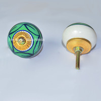 Star Hand Painted Ceramic Kitchen Cabinet Door Pulls Knobs, Set of 2 on RoyalFurnish.com