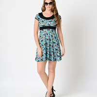 Retro Style Teal Prancing Fawn Short Sleeve Buttercup Knit Flare Dress