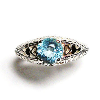"Blue topaz, blue topaz ring, sweetheart ring, birthstone ring, solitaire ring, blue, s 6 3/4  ""Sweets for my sweet"""