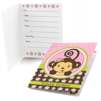 Monkey Girl - Birthday Party Fill In Invitations - 8 ct