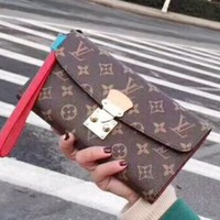 LV Fashion Casual Button bag Women Print Leather Purse Wallet Red G-QS-MP-JZLB