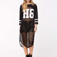 "Black Long-Sleeve ""H8"" Mesh T-Shirt Dress"