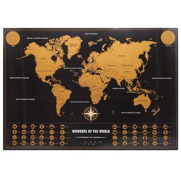 Drop shipping home Travel Map Vintage gold black poster Personalized World Map living room pub cafe painting