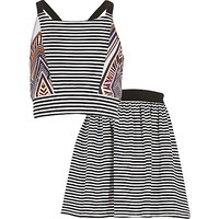River Island Girls black stripe print co-ords outfit