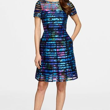 Women's Tahari Burnout Fit & Flare Dress,