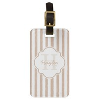 Preppy Tan Painted Stripes Monogram and Name Bag Tag