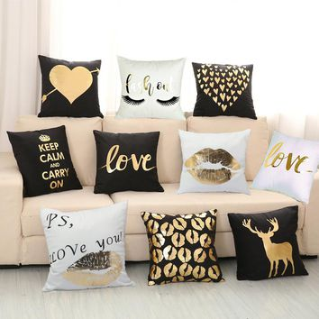 Gold Foil Collection - Black and White Pillow Covers