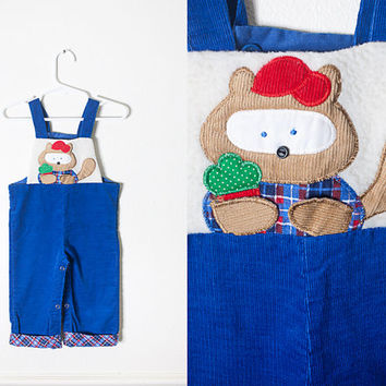 Vintage Baby Romper / Xmas Outfit 80s Blue Corduroy Romper Toddler Boys Playsuit One Piece Retro Baby Clothing Embroidered Bib Overalls Bear