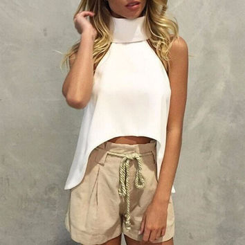 Retro high neck sleeveless Shirt Blouse Tops