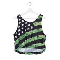 Summer Style Short Tank Top USA Weed Adid 3D Printed Women Tops Crop Sexy Vest F