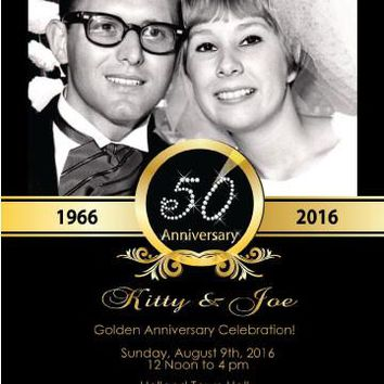 Photo 50th Anniversary Invitations