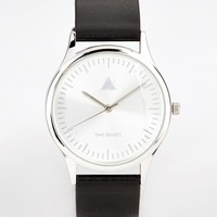 ASOS Watch With Silver Case And Black Strap