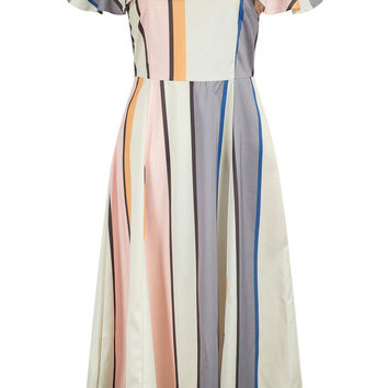 Polychrome Stripe One Shoulder Ruffle Trim Midi Dress