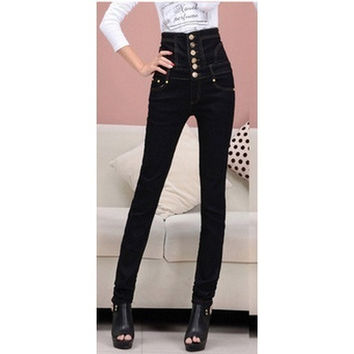 New   high waist jeans woman Thick large size black cotton button skinny pencil pants size S-4XL jeans for women = 1958410692
