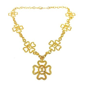 Chanel Gold Textured Multi Cross Charm Drape Drop Evening Pendant Necklace