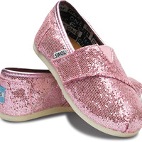 TOMS Shoes Glitter Pink Classic Slip-On Shoes Tiny Kids,