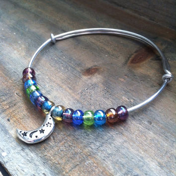 Stacking Bangle Bracelet - Moon and Star Charm Bracelet, Beaded Bangle Bracelet - Adjustable Bangle, Colorful bracelet