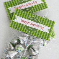 St. Patrick's Day Bag Topper, Treat Bag, Party Favor, Lucky, Goodie Bag, PERSONALIZED Digital File—You Print