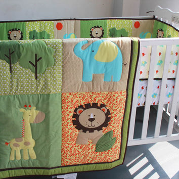 3 Pc Crib Infant Room Kids Baby Bedroom Set Nursery Bedding Green Animal Cot bedding set for newborn baby boy