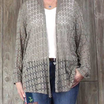 Nice Made in Italy Taupe Open Front Cardigan 1x size