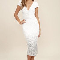 Dress the Population Cece White Ombre Sequin Midi Dress