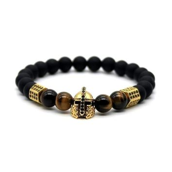 Spartan Gladiator Helmet Tiger Eye Men's Bracelet