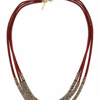 Suede and Ring Multi-row Necklace - Burgundy