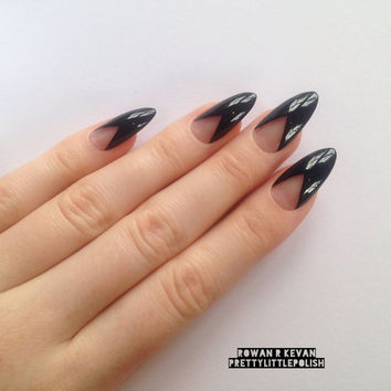 Black french stiletto nails, Nail designs, Nail art, Nails, Stiletto nails, Acrylic nails, Pointy nails, Fake nails, False nails
