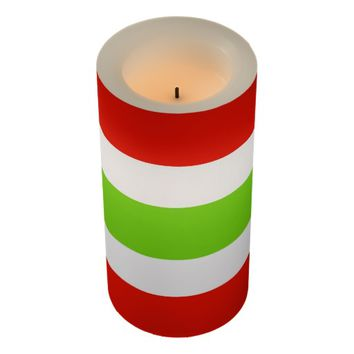 Stripes White Red Green Flameless Candle