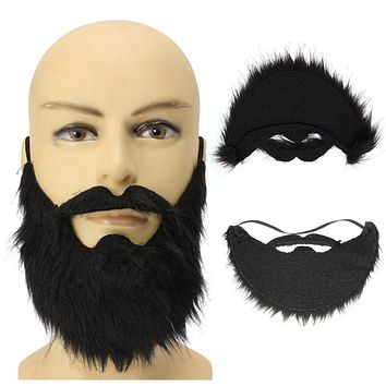 Fancy Dress Fake Black Beard False Moustache Elasticated Halloween Party Prom Props for Cosplay
