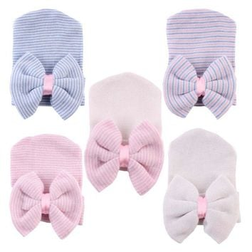 1PC Girls Boys Crochet Knitting Hat Striped Cotton Caps Kids Children Hostipal Beanie Big Bow Hats