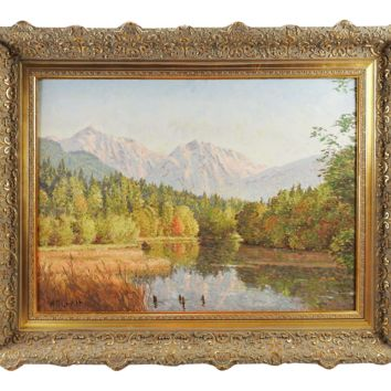 Mountain & Lake Landscape Oil Painting