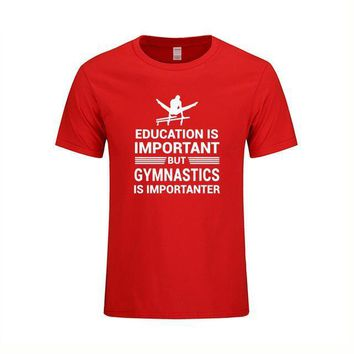 "Men's Gymnastics T-Shirt ""Education Important But Gymnastics is Importanter"" Red"